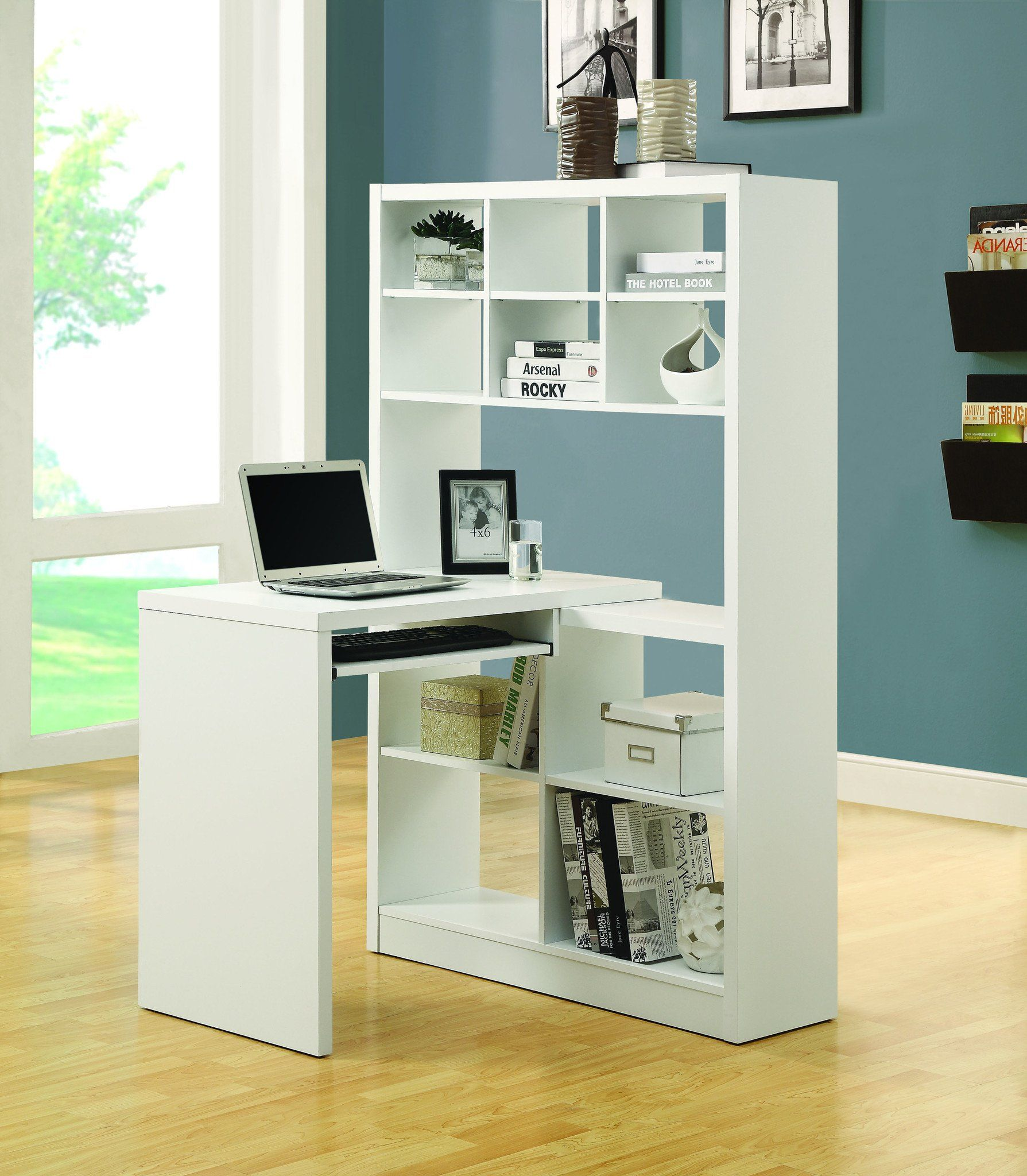 Contemporary White Desk Bookcase Combination Home Office Design White Desk With Bookcase Bookshelf Desk