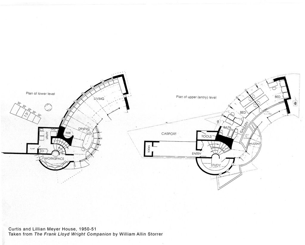 Curtis and lillian meyer house plan 1951 frank lloyd Frank lloyd wright floor plan