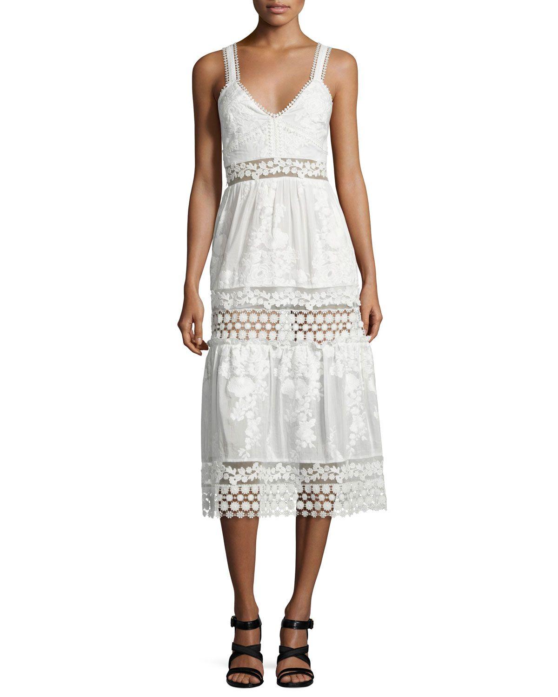 Self Portrait Sleeveless Embroidered Prairie Dress, White