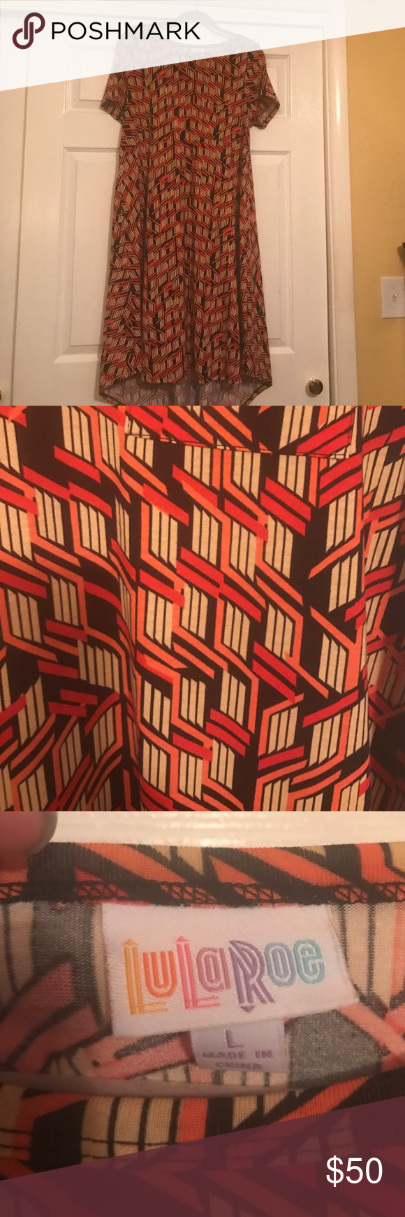 LuLaRoe Carly Size Large Red, orange, tan and black.  Brand New!! LuLaRoe Dresses High Low