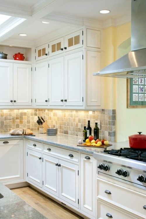 Fascinating Yellow Kitchen White Cabinets