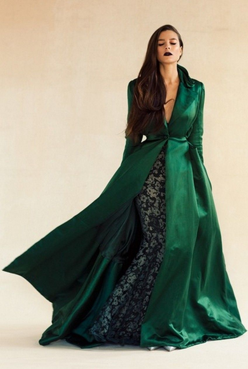 Emerald green dress for wedding   Emerald  Winter Fashion Trends   Image Source