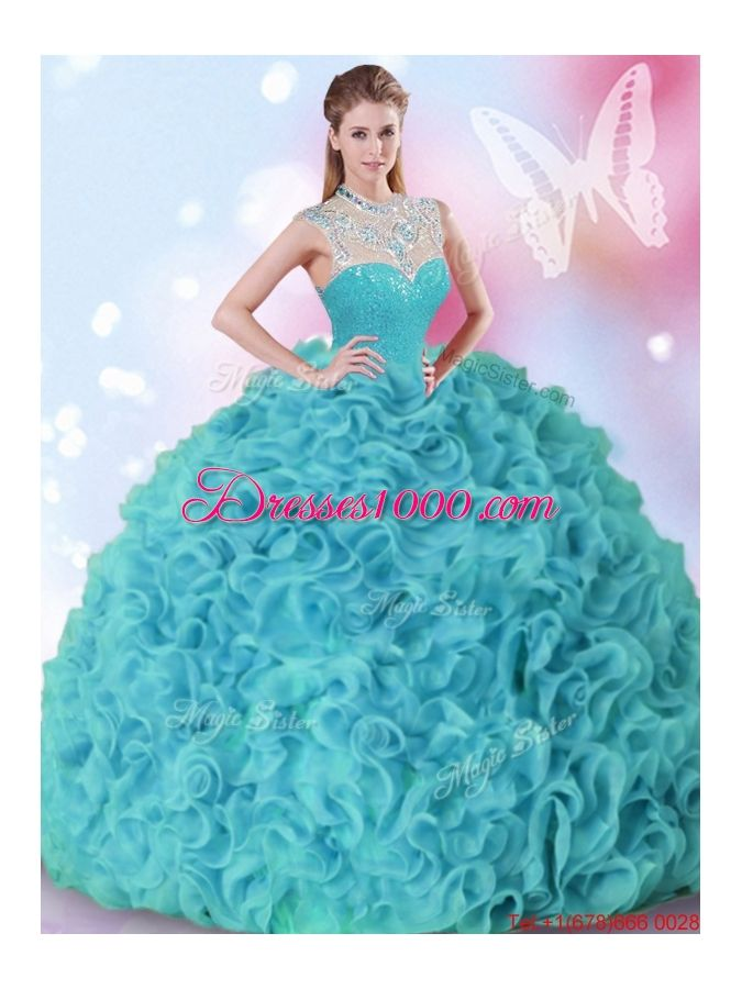 fc536007e3 Latest Beaded and Ruffled High Neck Quinceanera Dress in Aquamarine ...