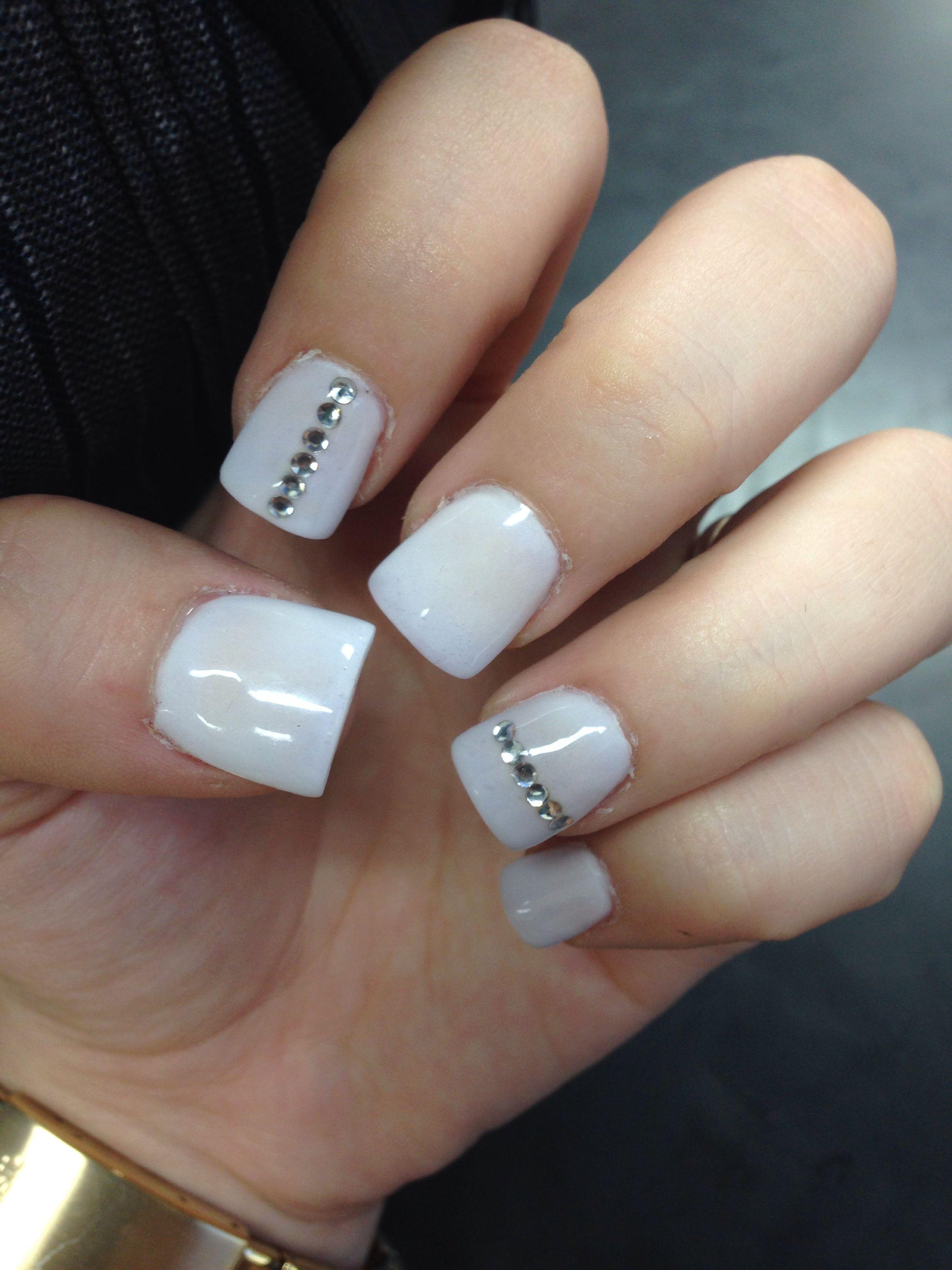 White Rhinestone Nail Design