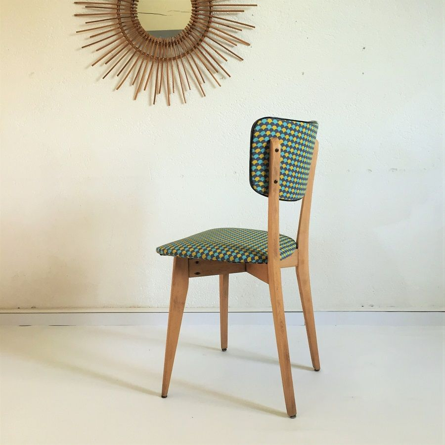 chaise vintage bois et tissus 7 ameublement. Black Bedroom Furniture Sets. Home Design Ideas