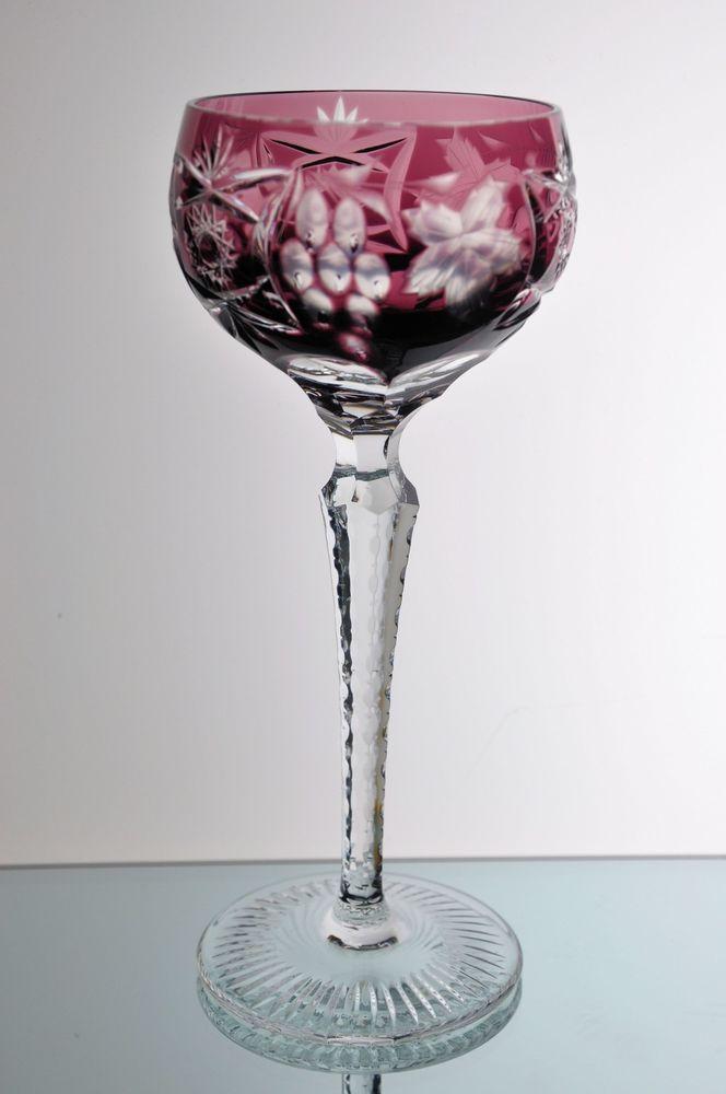 4da1d269b04 Nachtmann Traube Amethyst Purple Cut to Clear Crystal Wine Goblet Glass  Vintage