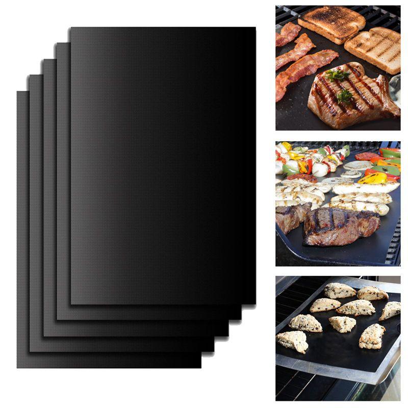 Non-Stick BBQ Grill Mat Bake Grilling Mats Barbecue Pad Outdoor Teflon Fiber new