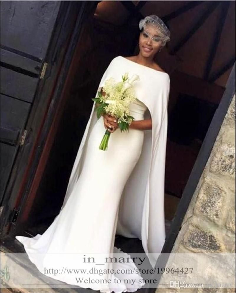 d5dd1eb41129a 2017 Sexy White Beach Country Mermaid Wedding Dresses with Detachable Long  Wrap Plus Size Arabic African Cheap Designer Formal Bridal Gowns 2017  Wedding ...