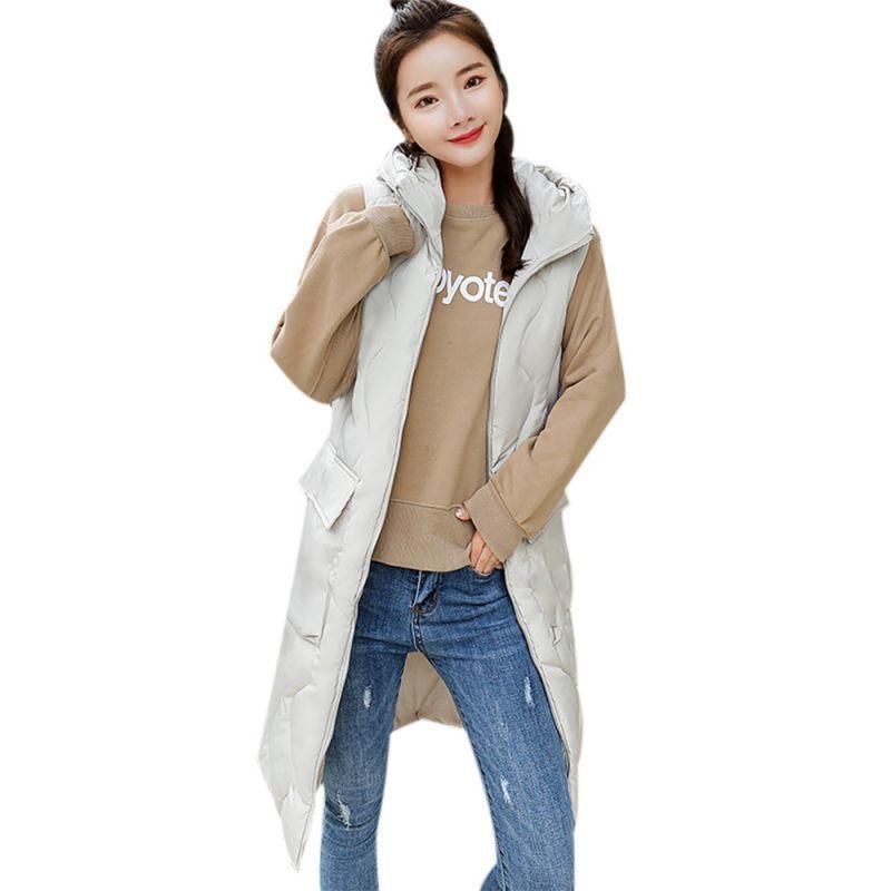 caf5e9639 Women thick outerwear sleeveless fashion long slim hooded coats ...
