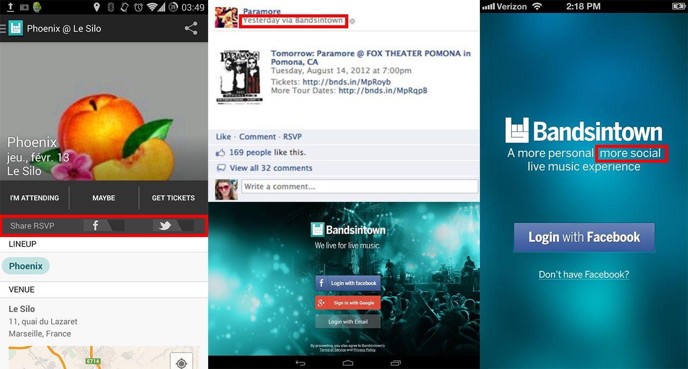 Dimension Virale | la dimension virale est très forte, l'application peut être liée directement dès la première page de connexion via facebook connect ou via son compte google+. Cela permet d'identifier l'utilisateur mais permettra aussi à l'application de scanner ses goûts musicaux (facebook, spotify, etc.) pour publier ses goûts musicaux préférés, poster et partager directement des commentaires ou des réponses sur des évènements facebook mais également sur twitter via Bandsintown.