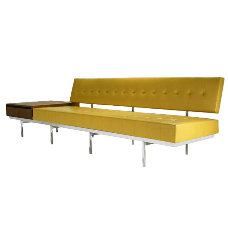 Florence Knoll Long Sofa With Walnut End Table Vintage Furniture Design Furniture Long Sofa