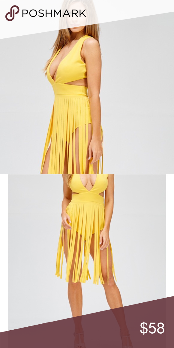 """COMING SOON! Pre orders excepted Plunged """"V"""" neck line fringe dress with a crossed back( colors/ black, yellow Dresses Midi"""