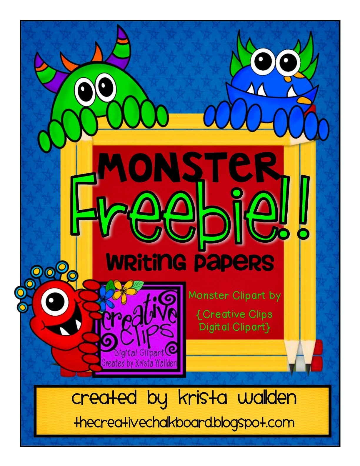 the creative chalkboard: day 2 {freebie} monster writing pages and