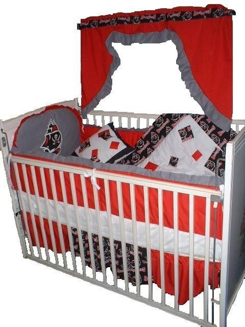 Baby Nursery Crib Quilt W Tampa Bay Buccaneers Fabric