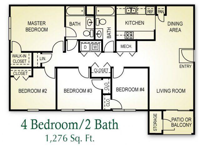 4 Bed 2 Bath Floor Plans