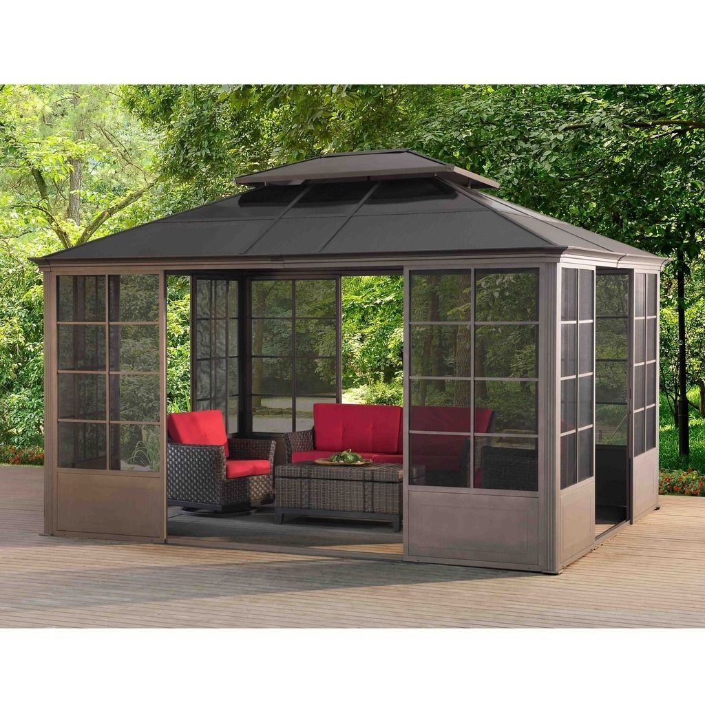 Sunjoy conner v2c screen house gazebo multi steel for Screen room plans