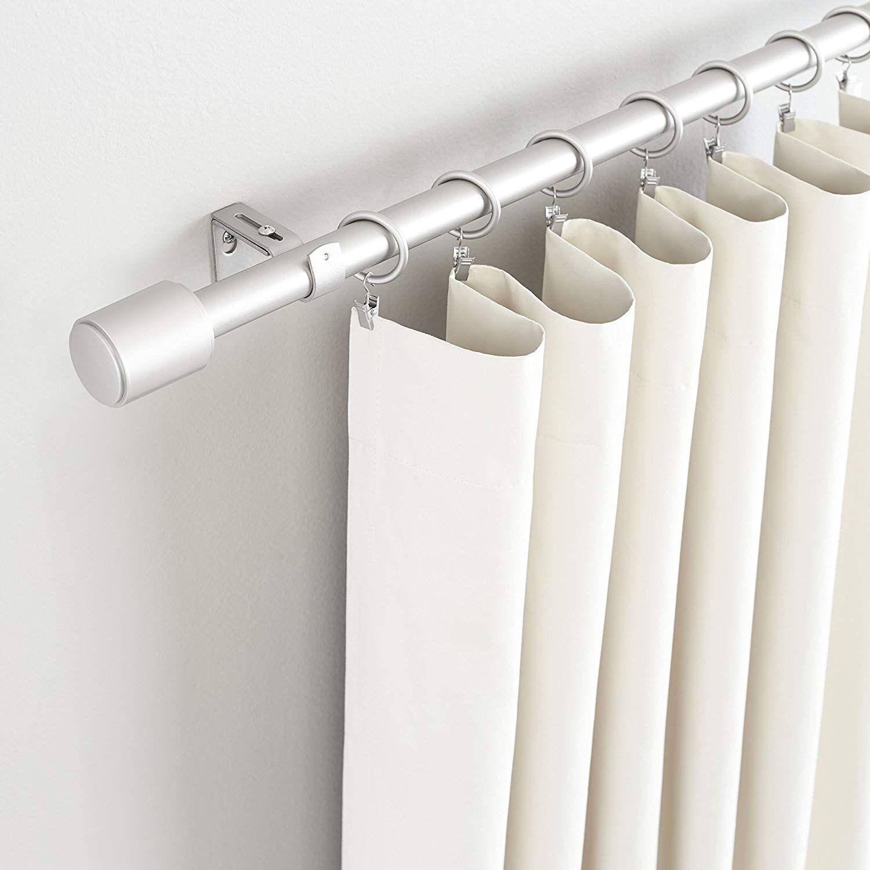 Amazonbasics 1 Curtain Rod With Cap Finials 72 To 144 Nickel With Images Curtain Rods Hanging Curtain Rods Curtain Rod Brackets