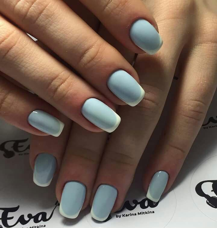 French Manicure With A Twist Baby Blue Base French Manicure Nails Manicure French Manicure Designs