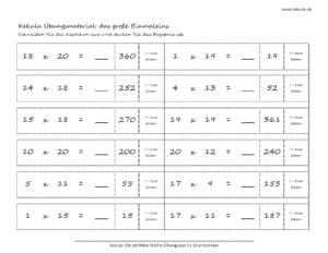 übungsblätter Großes Einmaleins Für Die Grundschule 1