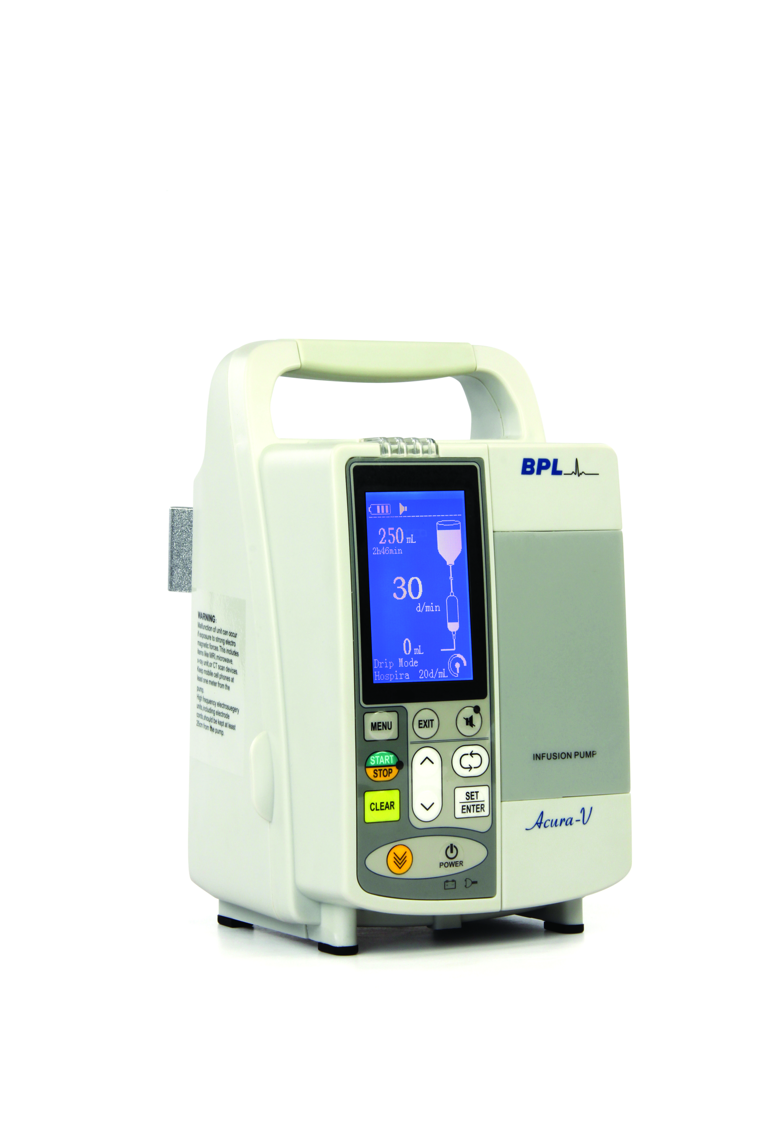 Acura V infusion volumetric pump es with a large blue LCD display