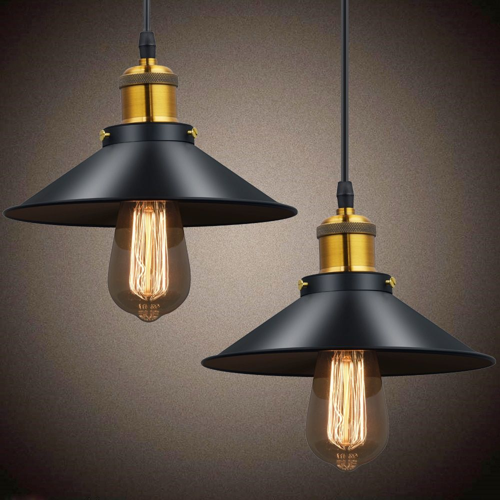 Vintage Pendant Lights Retro Pendant Lamp Metal Lustres Loft Hanging Light Black Lampshades Russia Dining Lighting Luminarias Pendant Lighting Vintage Pendant Lighting Ceiling Lamp Black