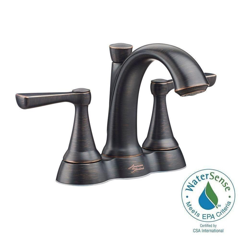 American Standard Kempton 4 In Centerset 2 Handle Bathroom Faucet In Legacy Bronze 7416201 278 The Home Depot Bathroom Faucets Faucet American Standard