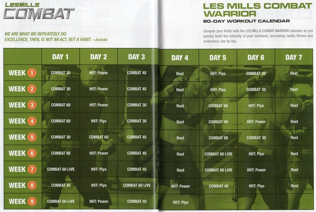 Les Mills COMBAT Schedule. Starting this as soon as it