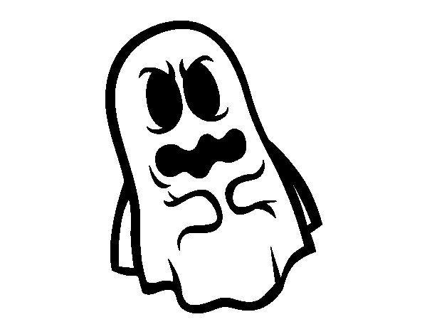 Dibujos Para Colorear De Terror Ninos: Dibujo De Fantasma Asustado Para Colorear