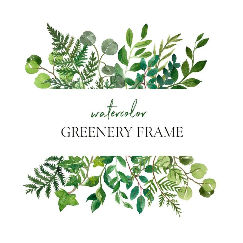 Watercolor Lush Greenery Frame Clipart Png Wreath Green Leaves Etsy In 2021 Clip Art Greenery Watercolour Wedding Stationery