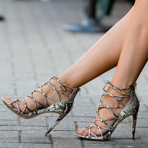 Aldo Snake Printed Strap Heels