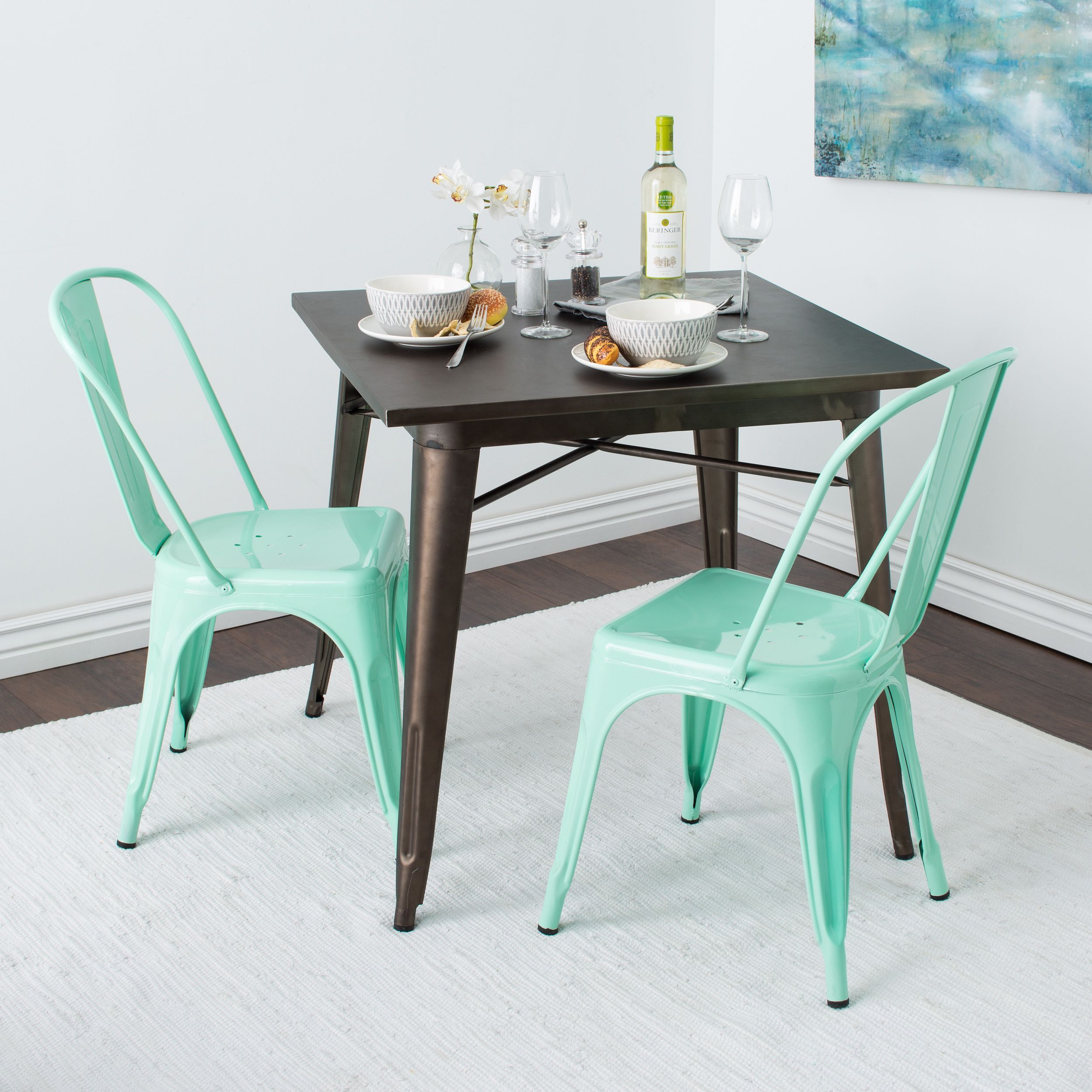 Tabouret Bistro Side Chair Hint Of Mint Set 2 Green Metal