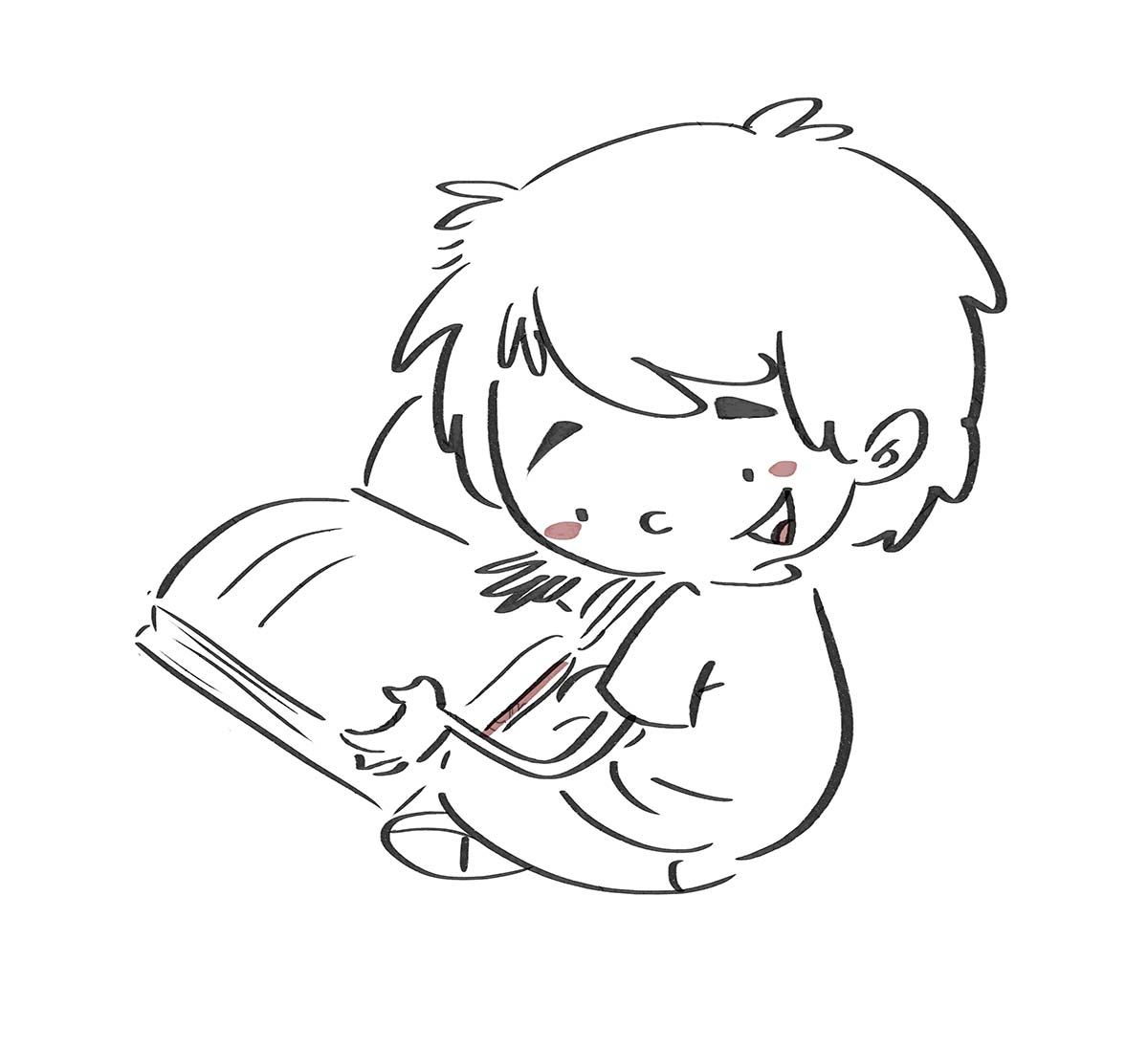Boy Sitting Reading A Book Line Drawing In