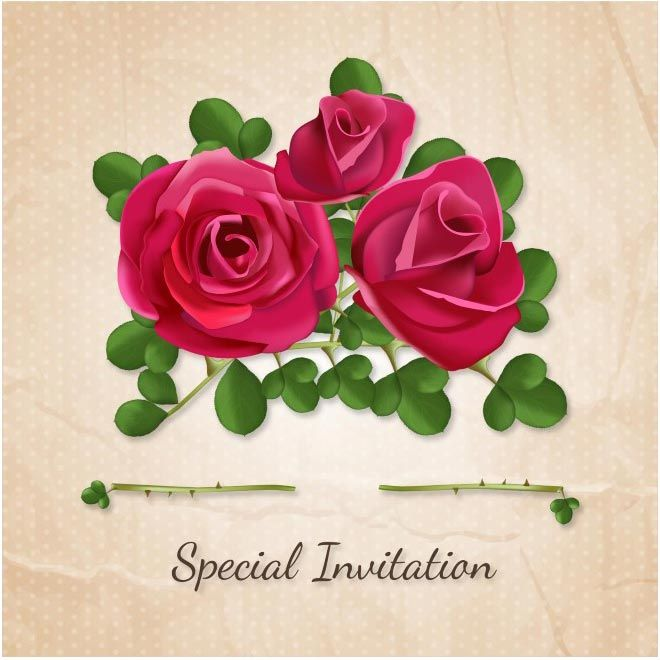 Free vector happy valentines day special invitation red rose flowers free vector happy valentines day special invitation red rose flowers http stopboris Choice Image