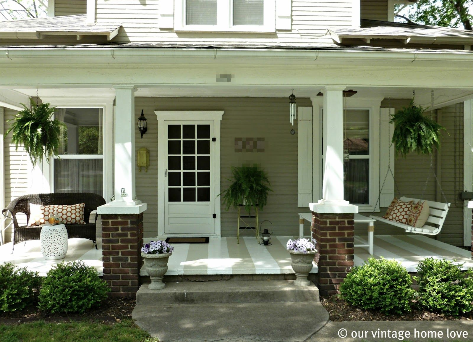 Front porch decorating ideas our vintage home love for Front porch patio ideas