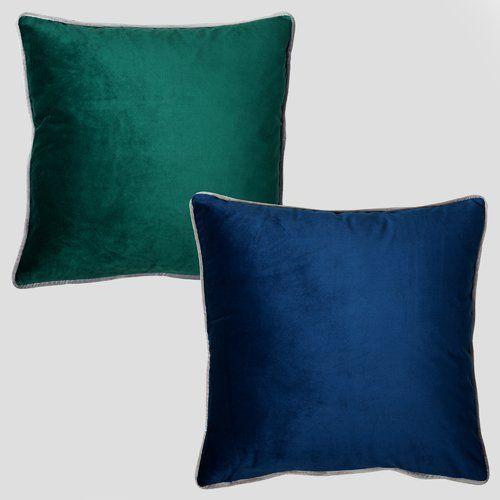 Farnworth Velvet Cushion Mercer41 Colour: Forest Green/Navy Blue images