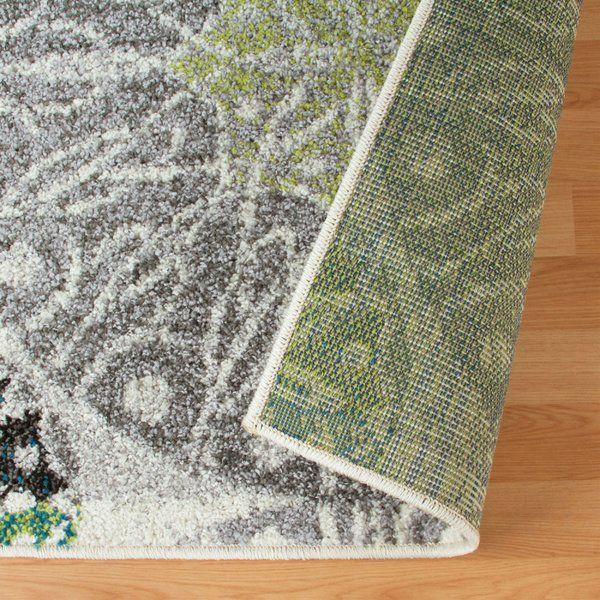 Darcio Geometric Gray/White/Green Area Rug Area rugs