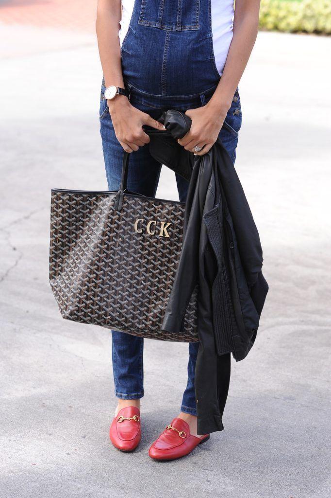 Black Goyard Tote Red Gucci Loafer Slides Denim Overalls Accessories Streetstyle Springstyle Los Angeles Fashion Lifest Goyard Tote Overalls Fashion
