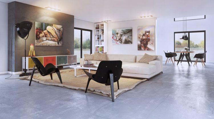 kreative Wandgestaltung Wohnzimmer Ideen Wandfarbe moderne Art - kreative wandgestaltung wohnzimmer
