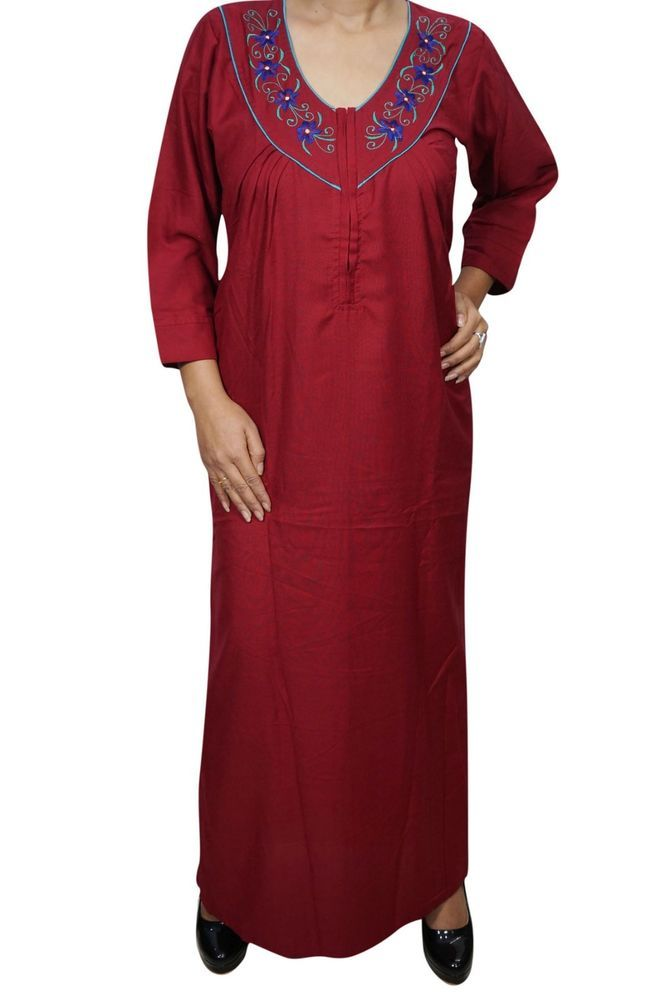 8bfcf0bd6f Indiatrendzs Women Nightwear Cotton Neck Embroidered Maroon Sleepwear Nighty  40