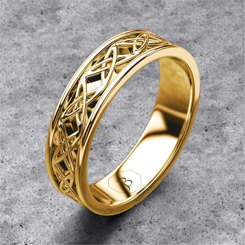 Gold celtic band mens celtic ring celtic wedding band