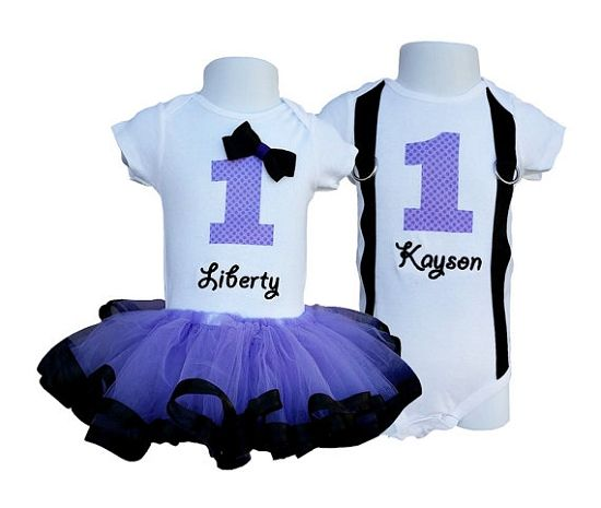 Twin's 1st Birthday Tutu and Shirts Set- For birthday or pictures! $75.00