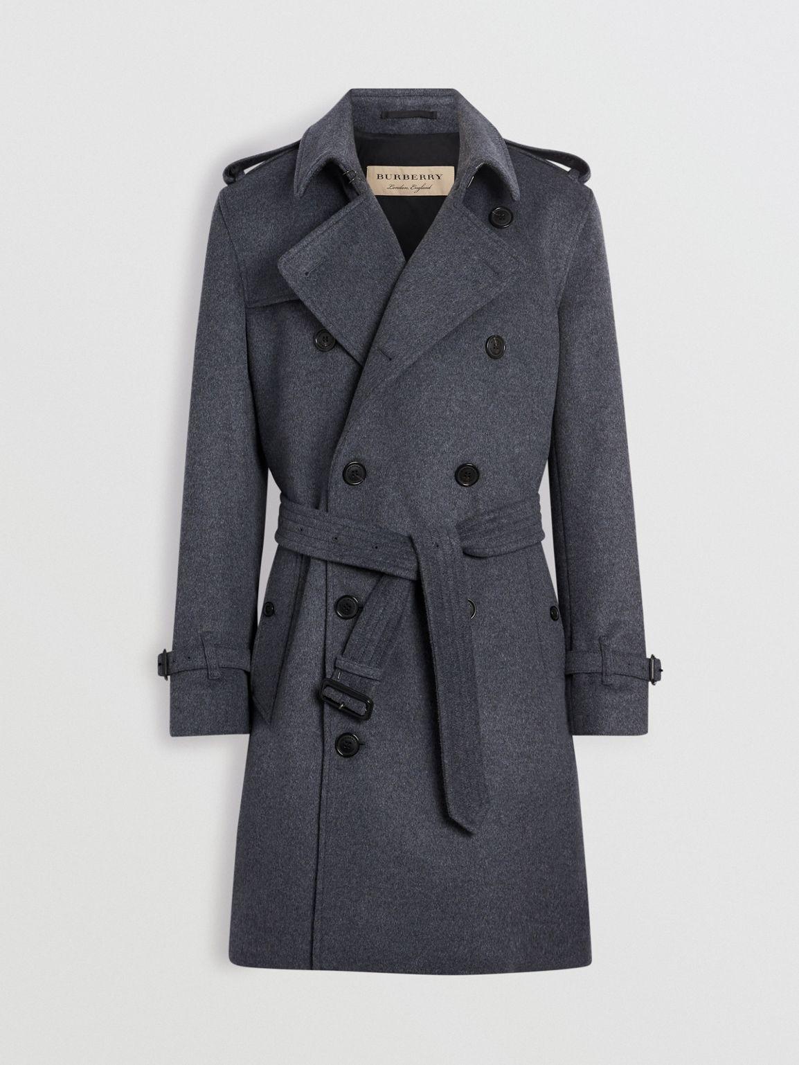 Wool Cashmere Trench Coat in Pewter Melange - Men in 2018  48682b93df7