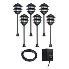 Portfolio 6 Light Black Low Voltage Incandescent Path
