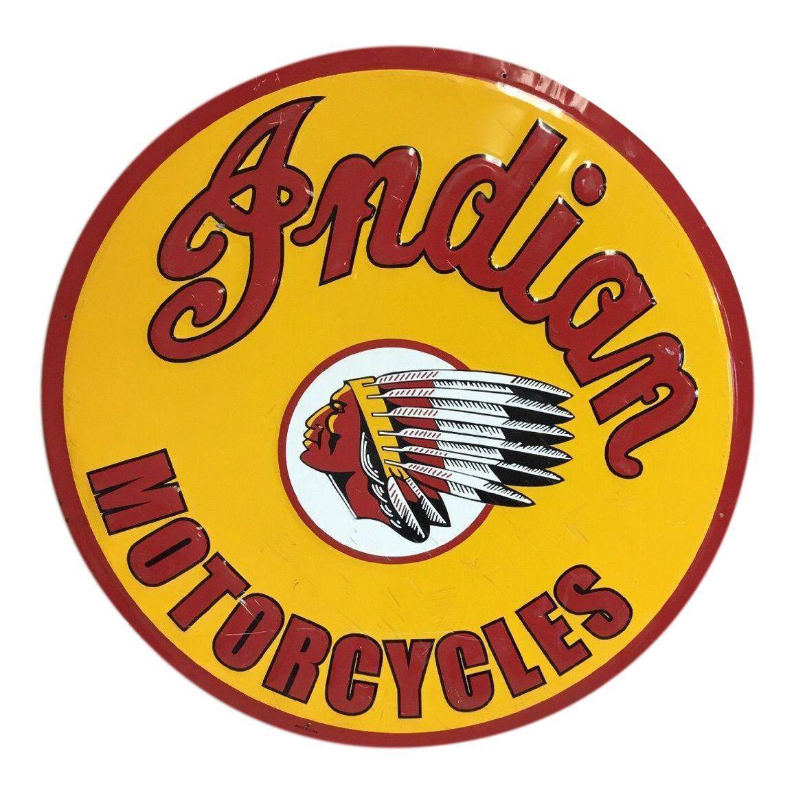 Vintage Indian Motorycle Metal Sign Image 1 of 5