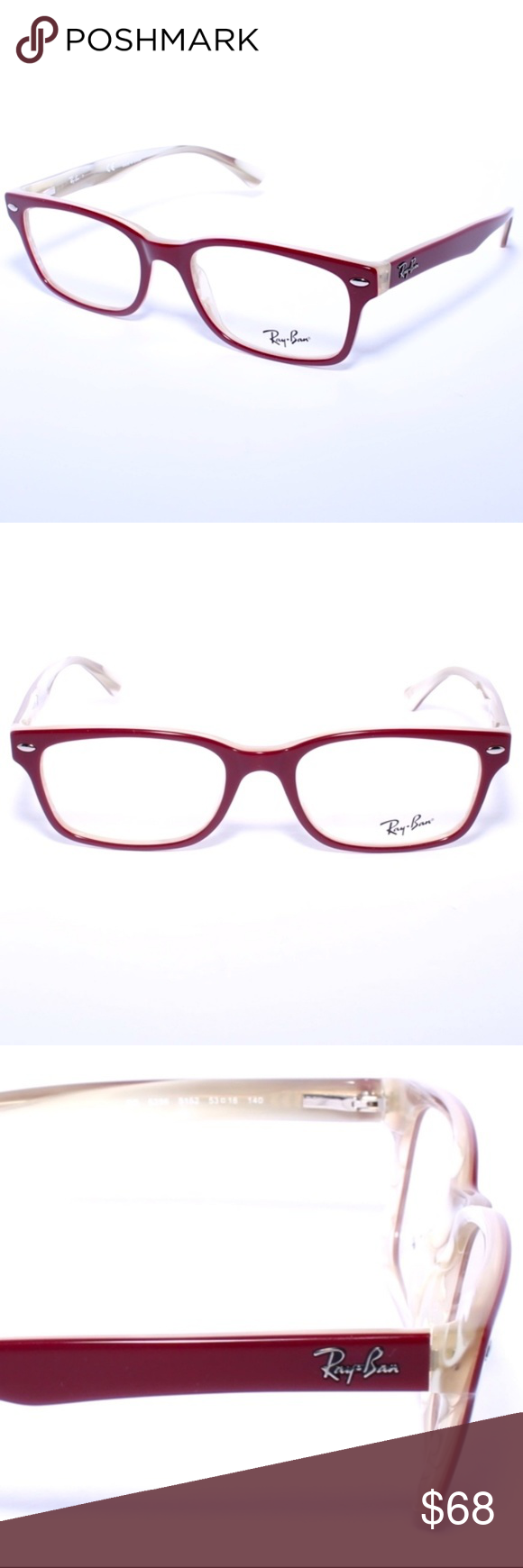 3572003809d35 Ray Ban RB 5286 5152 Burgundy Beige 53mm Frames Brand New 100% Authentic Ray  Ban RB 5286 5152 Burgundy Beige 53mm Frames Eyeglasses RX Comes with  Generic ...