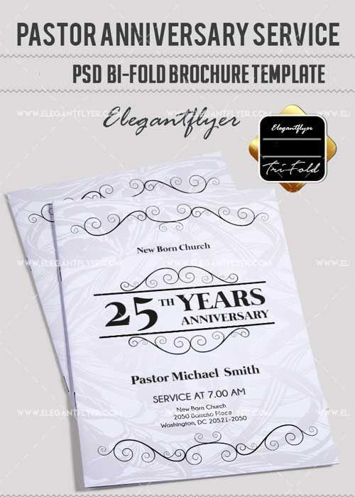 download pastor anniversary v24 bi fold psd brochure template free
