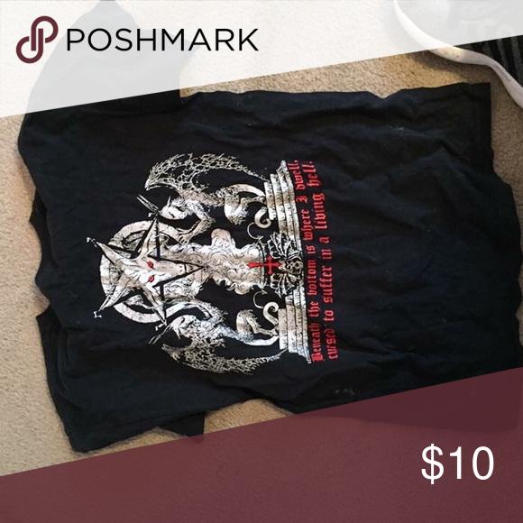 Satanic shirt Satan tshirt Tops Tees - Short Sleeve