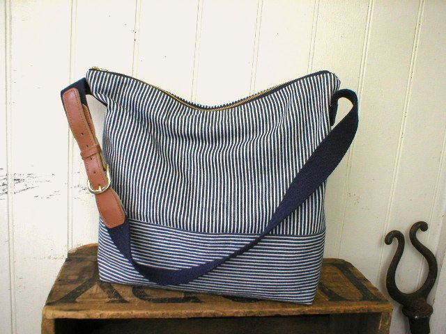 Indigo stripe denim day bag, messenger adjustable strap - eco vintage fabrics. $72.00, via Etsy.