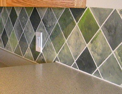 Faux Painted Tile Backsplash Remodelaholic Remodelaholic Diy Backsplash Tile Backsplash Faux Tiles