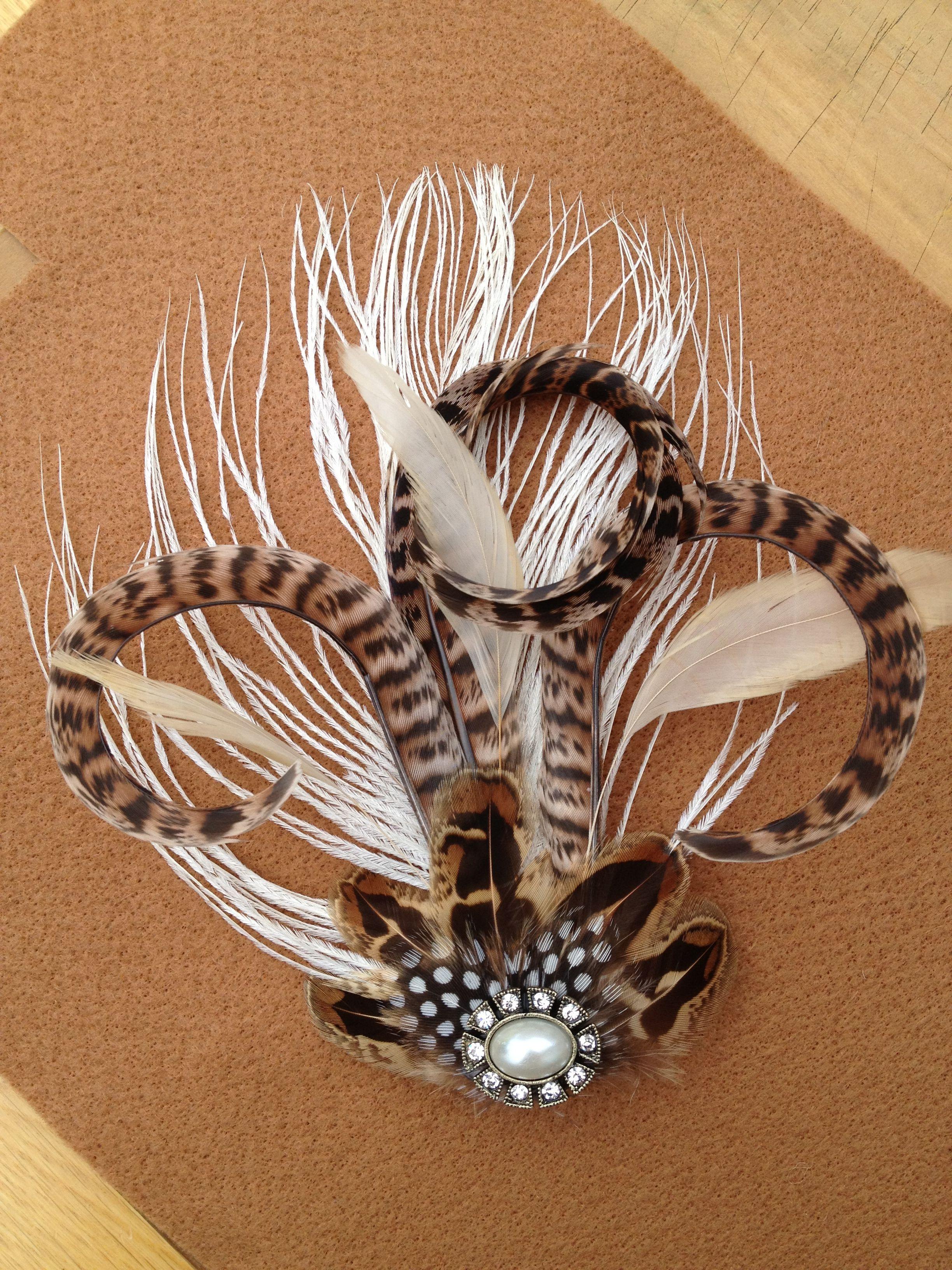 Handmade bridal hair clip, pheasant feather. Feather